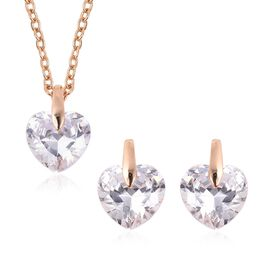 2 Piece Set - Simulated Diamond (Hrt) Earrings (with Push Back) and Pendant with Chain (Size 18 with