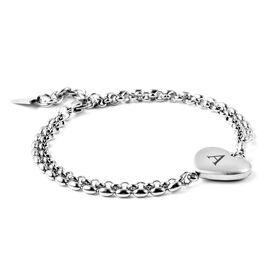 Personalised Engravable Initial Heart Steel Bracelet, Size 7.5+1 Inch, Stainless Steel