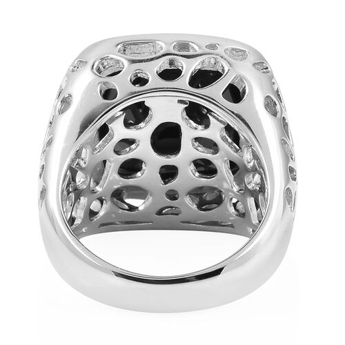 RACHEL GALLEY Boi Ploi Black Spinel (Cush) Lattice Ring in Rhodium Overlay Sterling Silver 21.520 Ct, Silver wt 11.93 Gms.