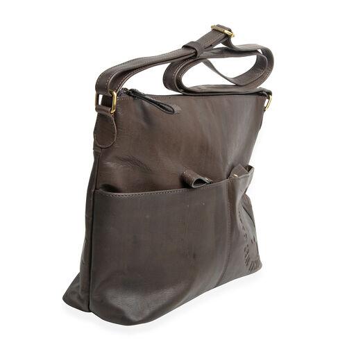 MCS Country Classics: 100% Genuine Leather Handbag - Charcoal