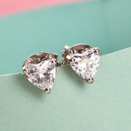 Swarovski Zirconia  Solitaire Stud Push Post Earring in Platinum Overlay Sterling Silver 1.62 ct  1.620  Ct.