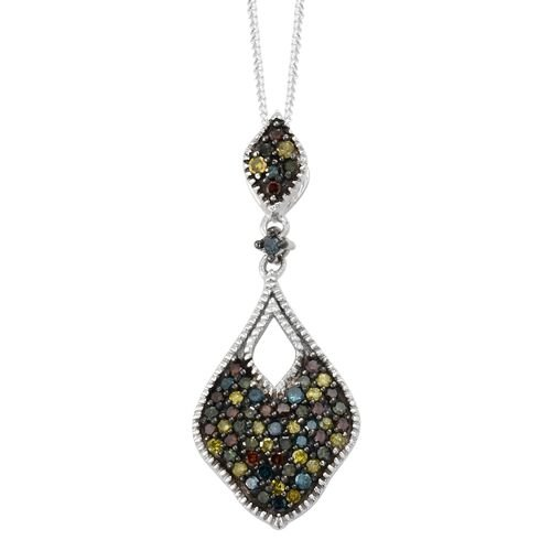 Designer Inspired-Rainbow Colour Diamond (Rnd) Pendant with Chain in Platinum Overlay Sterling Silve