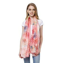 100% Mulberry Silk Red, Blue and Multi Colour Splendid Floral Pattern Light Pink Colour Scarf (Size
