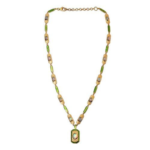 Ethiopian Welo Opal Enamelled Necklace (Size 18 with 2 inch Extender) in 14K Gold Overlay Sterling S