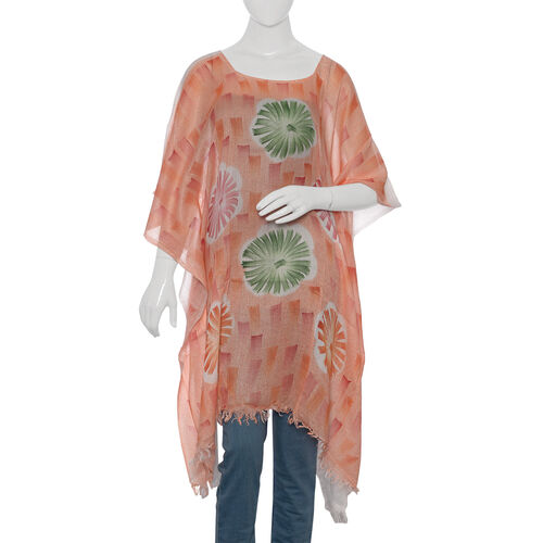 Designer Inspired Hand Painted Orange, Pink and Green Colour Beach Tree Pattern Kaftan (Free Size)