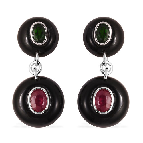 GP - Black Obsidian, African Ruby and Multi Gemstone Drop Earrings (with Push Back) in Rhodium Overl
