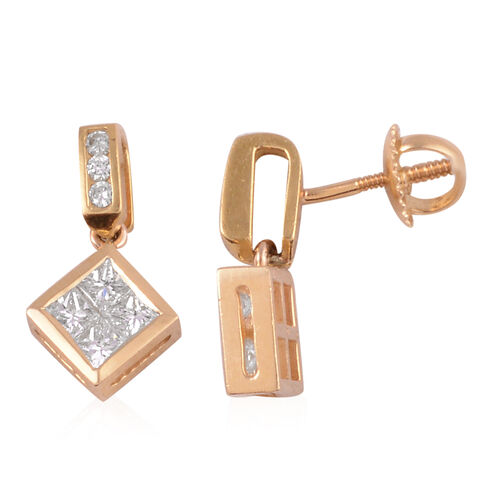 ILIANA 18K Yellow Gold Diamond (Rnd and Sqr) (SI/G-H) Earrings (with Screw Back) 1.680 Ct.