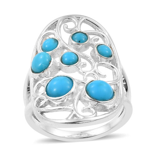 Arizona Sleeping Beauty Turquoise (Rnd) Ring in Sterling Silver   1.660 Ct.