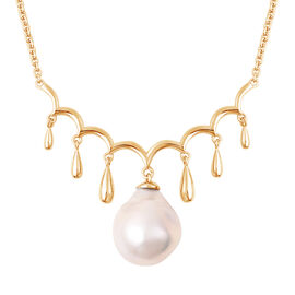LucyQ - Freshwater Purple Baroque Pearl Necklace (Size 20) in Yellow Gold Overlay Sterling Silver