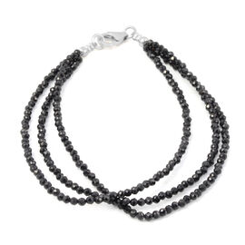 20 Carat Boi Ploi Black Spinel Beaded Multi Strand Bracelet in Silver 7.5 Inch