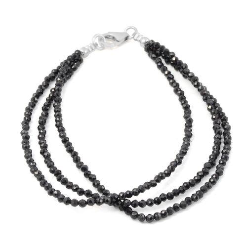 20 Carat Boi Ploi Black Spinel Beaded Multi Strand Bracelet in Silver 7.5 Inch