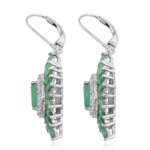 Kagem Zambian Emerald (Mrq), Natural Cambodian Zircon Lever Back Earrings in Platinum Overlay Sterling Silver 3.750 Ct.