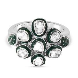GP Italian Garden Collection - Polki Green Diamond and Kanchanaburi Blue Sapphire Ring in Platinum O