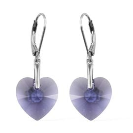 J Francis Crystal from Swarovski - Tanzanite Colour Crystal (Hrt 14 mm) Heart Earrings (with Lever B
