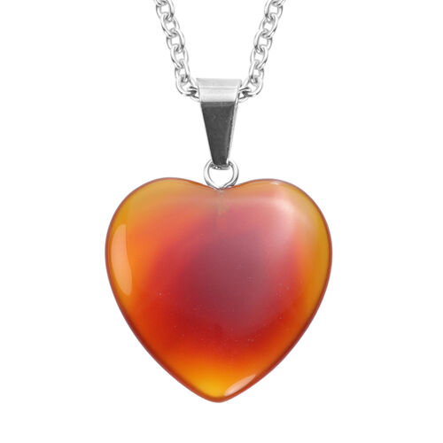 Red Agate Heart Pendant with Chain (Size 20) in Silver Tone 21.50 Ct.