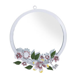 White Handcrafted Decorative Floral Wall Mirror