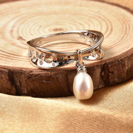 RACHEL GALLEY White Freshwater Pearl Ring in Rhodium Overlay Sterling Silver