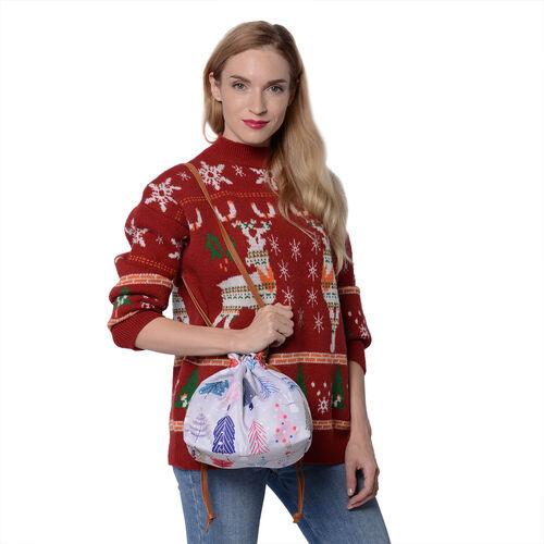 Christmas Theme Print Crossbody Bag (30x10x21cm) - Beige