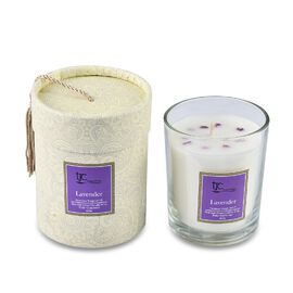 Home Decor - Lavender Scented Glass Candle with Ruby Carat wt 20.00 ct. (Size 8.2x8.2x9.4 Cm)