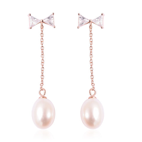 Freshwater White Pearl and Simulated Diamond Dangle Earrings (with Push Back) in Rose Gold Overlay S