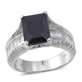 7.50 Ct Blue Sapphire and White Topaz Classic Ring in Rhodium Plated Silver 6.10 Grams