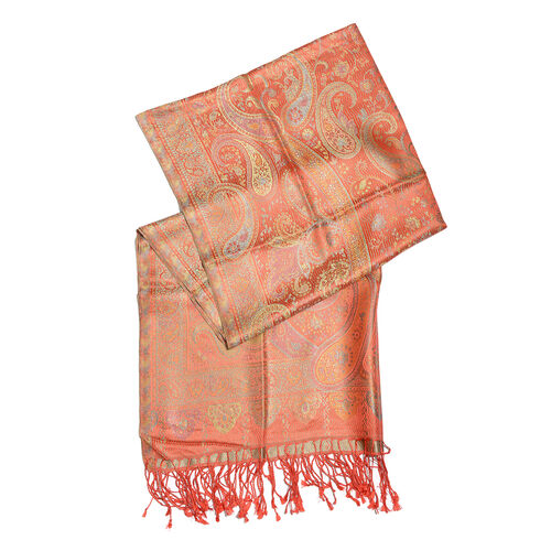 SILK MARK - 100% Superfine Silk Orange, Green and Multi Colour Paisley Pattern Reversible Jacquard Jamawar Scarf with Tassels (Size 190X70 Cm)