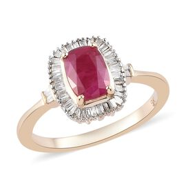 Collectors Edition- 9K Yellow Gold Cushion Cut AAA Burmese Ruby and Natural Diamond (I3) Ring 1.20 C