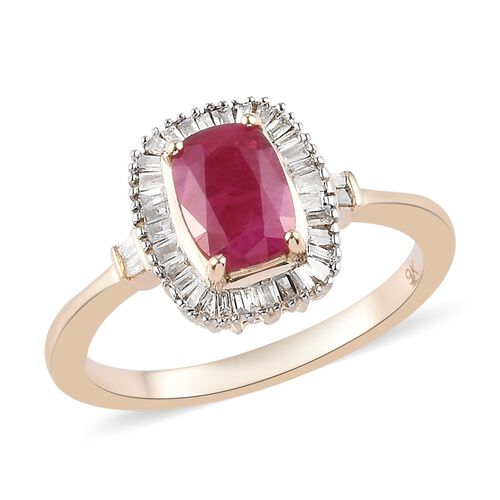 Collectors Edition Burmese Ruby and Diamond Halo Ring in 9K Yellow Gold I3,1.20 Ct