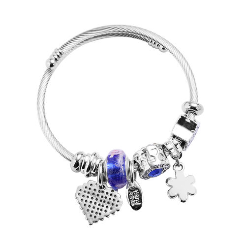 2 Piece Set - Simulated Black Spinel, Simulated Kyanzite and Multi Colour Gemstone Multi-Charm Adjustable Enamelled Bracelet (Size 6-7.5) in Silver Tone