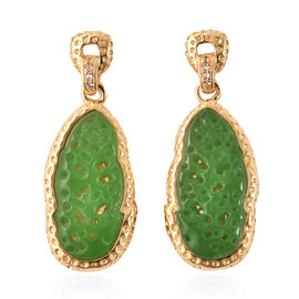 Green Jade and Natural Cambodian Zircon Drop Earrings in Yellow Gold Overlay Sterling Silver 9.55 Ct