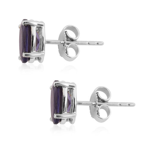 9K White Gold AA Iolite (Ovl 8x6 mm) Stud Earrings (with Push Back) 2.000 Ct.