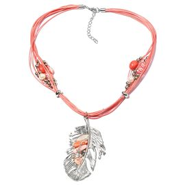 Pink Shell, Simulated Pearl, Simulated Fire Opal, Austrian White Crystal and Simulated Diamond Feather Necklace (Size 22) in Silver Bond.