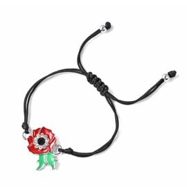 TJC Poppy Design Black and White Austrian Crystal (Rnd) Enamelled Poppy Flower Bracelet (Size 6.5-10