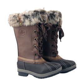 Faux Fur Lined Snow Boots - Brown & Cognac