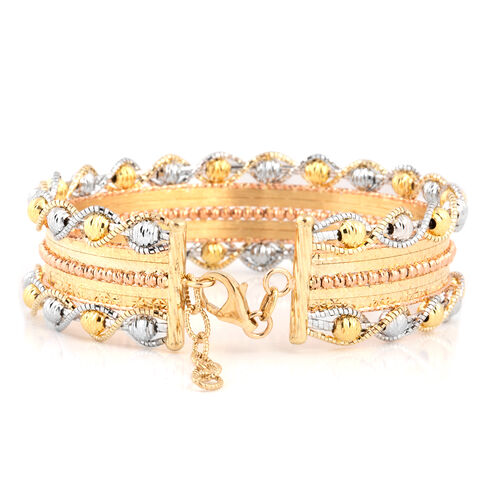 Italian Made-9K Yellow, Rose and White Gold Bangle (Size 7 and 1 inch Extender), Gold wt 16.59 Gms.