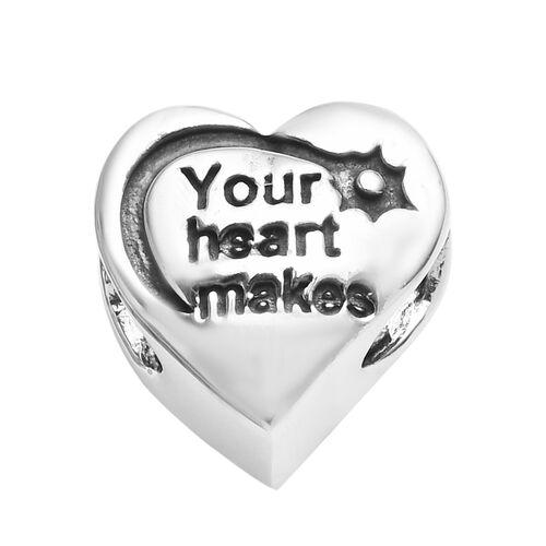 Charmes De Memoire Heart Charm in Platinum Plated Sterling Silver 3.85 Grams