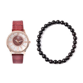2 Piece Set - STRADA Japanese Movement White Austrian Crystal Studded Watch with Wine Red Strap and