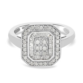 Diamond Cluster Ring in Platinum Overlay Sterling Silver 0.50 Ct.