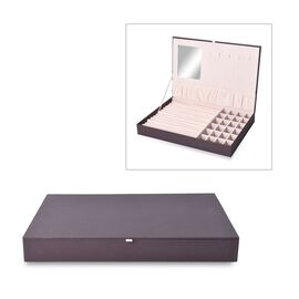 Leatherette Purple Rectangular Jewellery Box with 13 Ring Rows, 24 Sections and Mirror Inside (Size