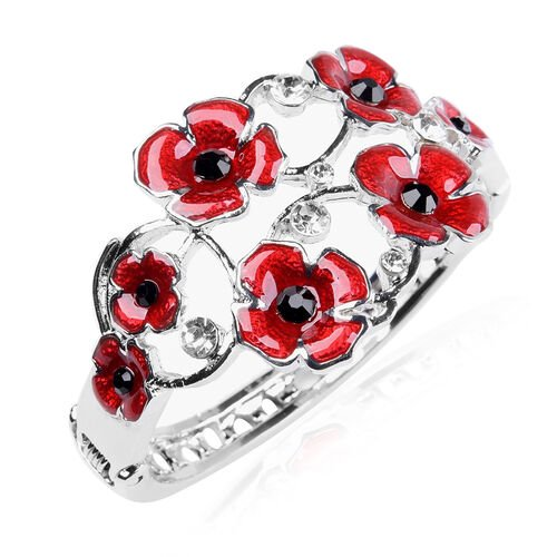 TJC Poppy Design - Black and White Austrian Crystal Enamelled Poppy Bangle (Size 6.5) in Silver Plat