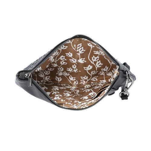 100% Genuine Leather RFID Protected Croc Embossed Wristlet(Size 20x10 Cm) - Black