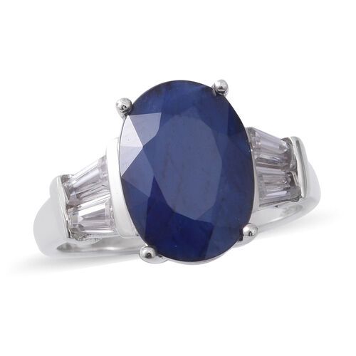 Extremely Rare Size Madagascar Blue Sapphire (Ovl 14x10 mm), Natural Cambodian White Zircon Ring in