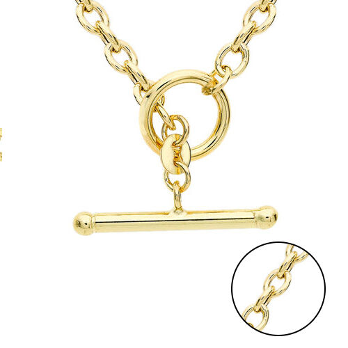 Italian Made- 9K Yellow Gold T-Bar Belcher Necklace (Size 17), Gold wt. 5.53 Gms