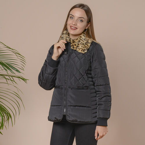 Leopard Faux Fur Collar Insulated Coat with Pockets and Zipper Closure (Size XL) - Black