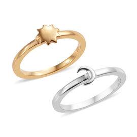 Set of 2 - Platinum and Yellow Gold Overlay Sterling Silver Star and Moon Ring
