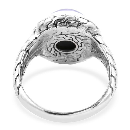 Royal Bali Collection - Blue Mabe Pearl Ring in Sterling Silver, Silver wt 8.25 Gms