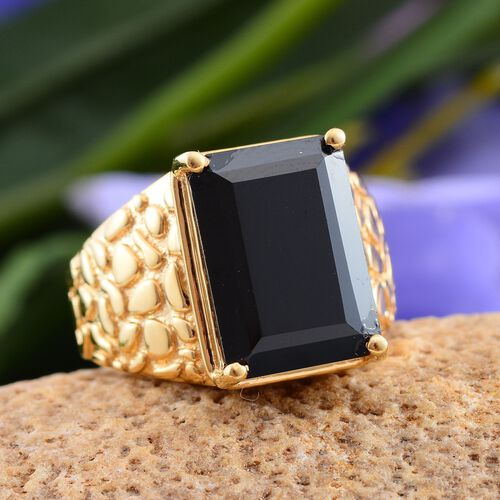 Stefy Boi Ploi Black Spinel (Oct 6.50 Ct), Pink Sapphire Ring in 14K Gold Overlay Sterling Silver 6.520 Ct.