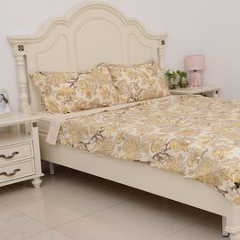 4 Pcs Cream Colour Fitted Sheet (Size 150x200 Cm), Duvet Cover (Size 225x220 Cm) and Pillow Case (Si