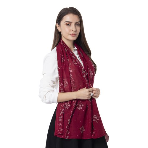 Wine Colour Floral Pattern Crystal Embellished Scarf (Size 80.01x 48.26 Cm)