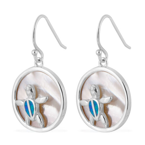 New Concept - White Mother of Pearl (Rnd), Simulated Blue Opal Hook Earrings in Rhodium Overlay Sterling Silver